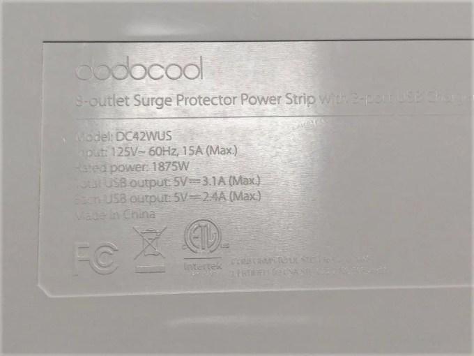 dodocool コンセント8口+USB充電ポート3口 電源タップ 裏
