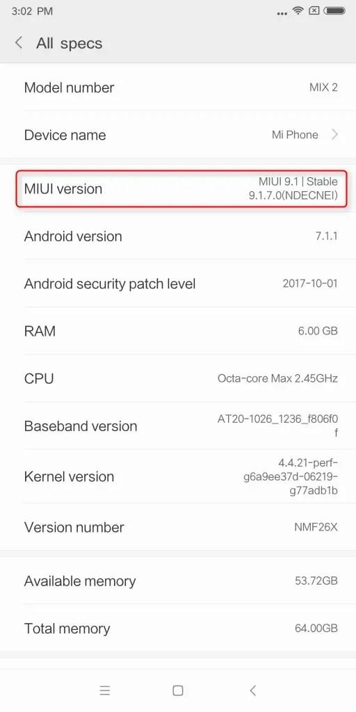 Xiaomi Mi MIX2 設定 My device > All specs > MIUI version