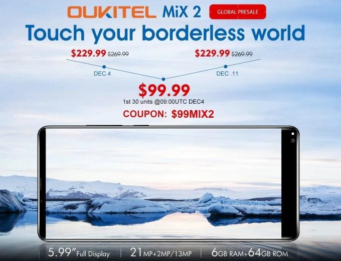 OUKITEL Mix 2 $99.99プレセール