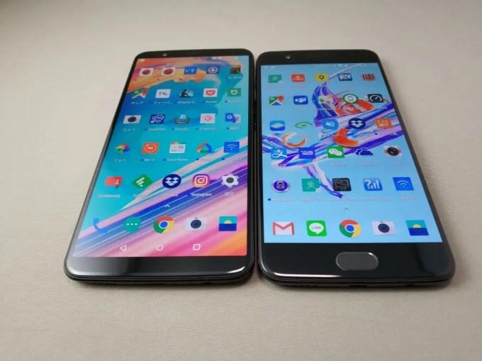 OnePlus 5Tと旧機種OnePlus 5 外観比較 斜め