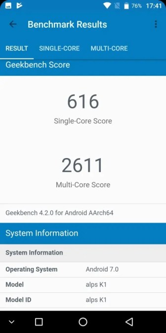 KOOLNEE K1 GeekBench 616