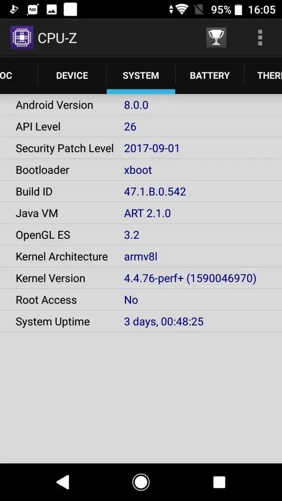 Sony Xperia XZ1 CPU-Z5