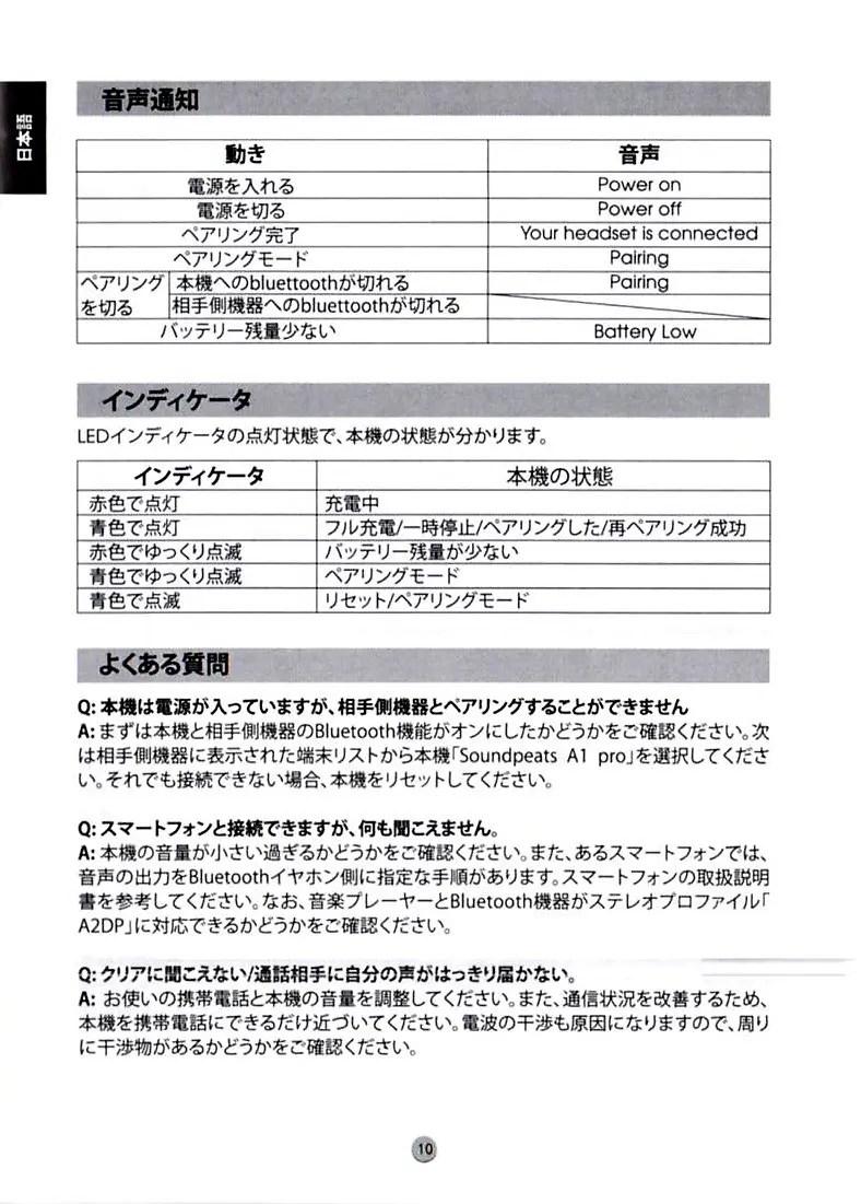 SoundPEATS A1 Pro 4 取説