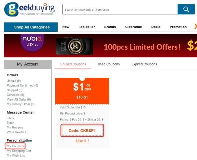 GeekBuying 春節セール 最大90%オフ 特設ページ クーポン もらい方