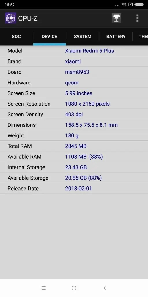 Xiaomi Redmi 5 Plus CPU-Z 4