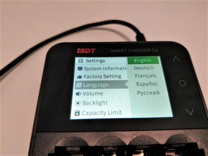 ISDT C4 8Aバッテリー充電器 設定 言語