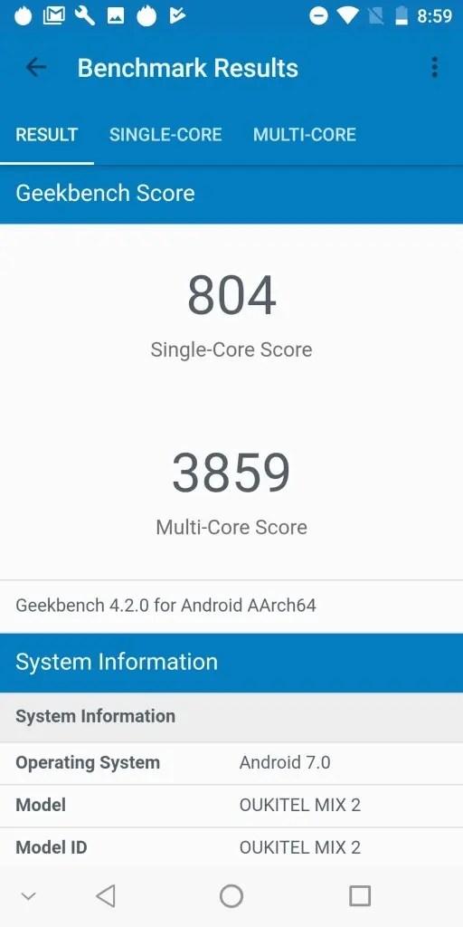 OKUKITEL MIX 2 Geekbench 804