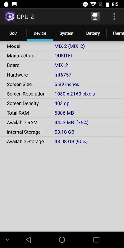 OKUKITEL MIX 2 CPU-Z 4