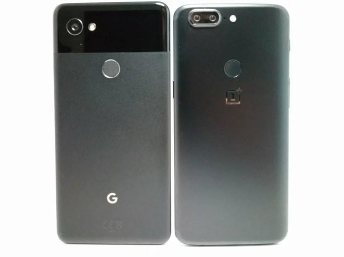 Pixel 2 XL OnePlus 5T 比較  裏