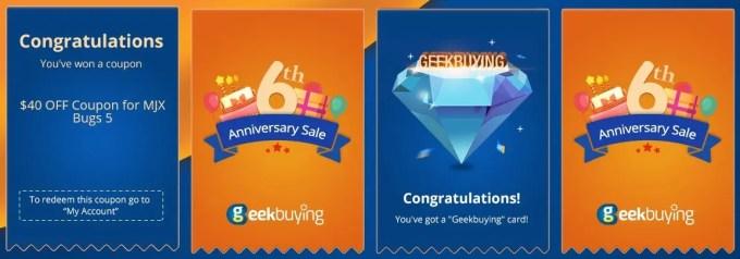 GeekBuying 6周年記念 1万ドル山分けキャンペーン カード 2