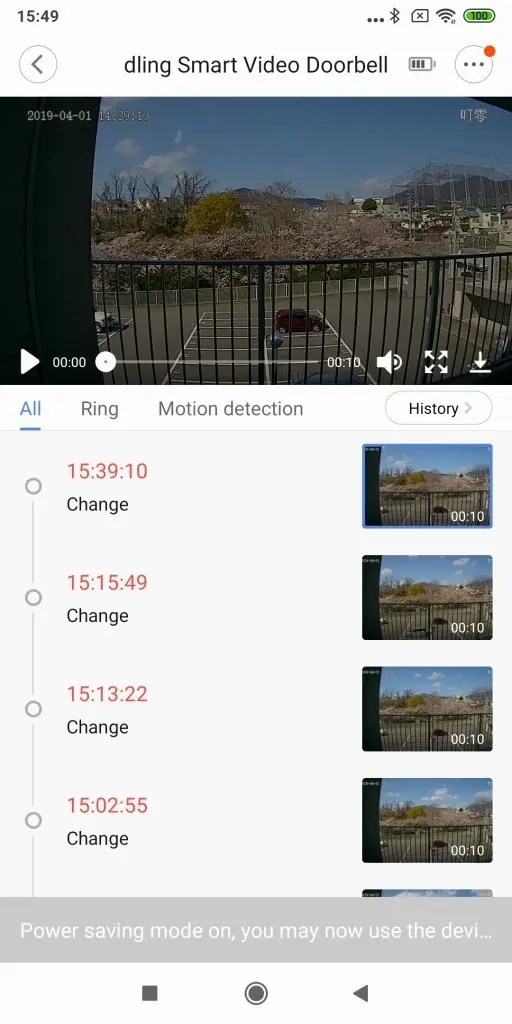 Xiaomi 電池駆動ナイトビジョンカメラ ドアベル ログ