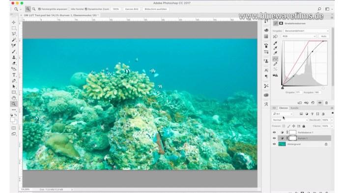 Farbkorrektur von Unterwasservideos - Einstellungsebenen
