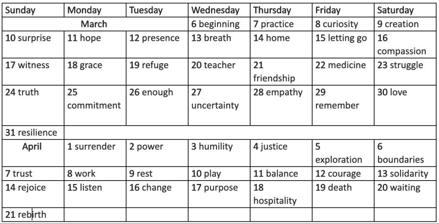 2019 Lent Lenten Calendar