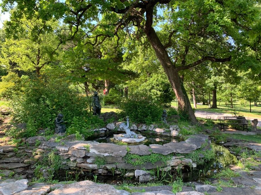 Stone pond at Woodward Park in Tulsa, OK