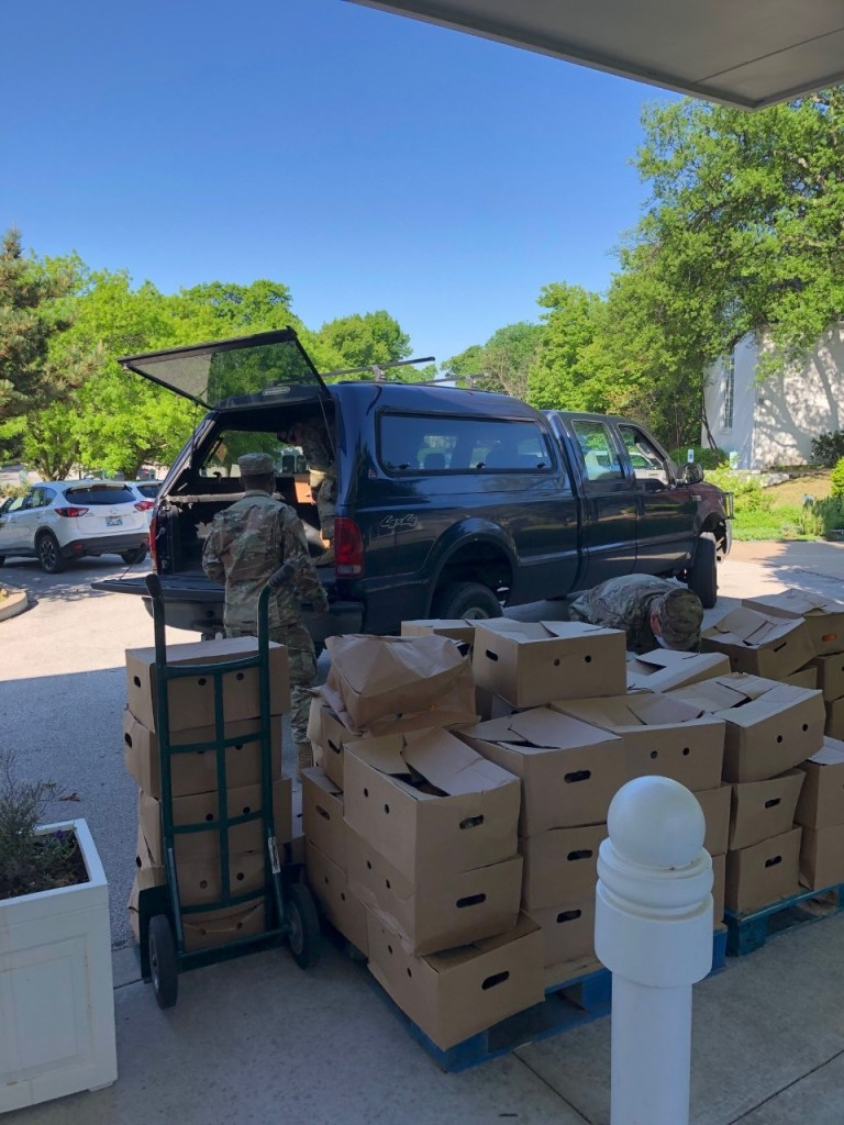 National Guard delivery of produce for our food pantry