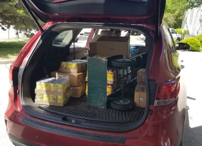 A car load of food from our pantry