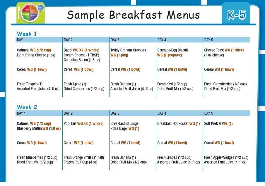 Healthy School Breakfast Menu