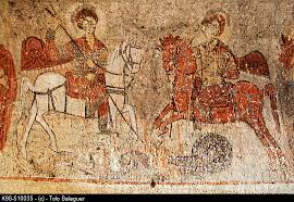 St. George slaying the dragon in the 10/11th Century in Turkey - where the tale is thought to have originated during the Crusades