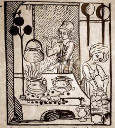 A woodcut shwoing pottage being slow-cooked