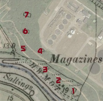 Numbered version of the 1895 map of the mags