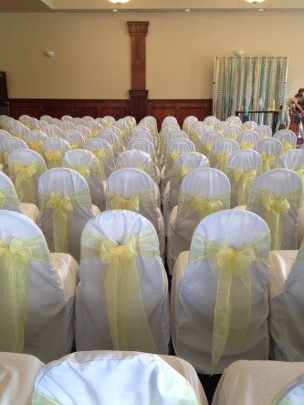Forte - White Chair Covers w/ Yellow Organza Sheer Sashes