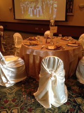Gold Accordion Taffeta Tablecloth with Gold and Ivory