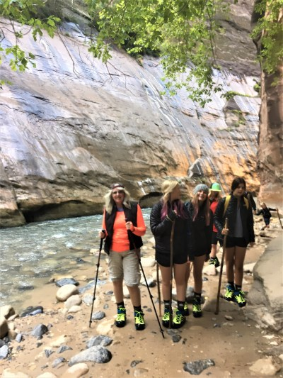 senior hiking the narrows