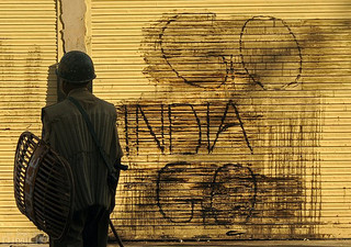 Photo of anti-India graffiti in Kashmir by Kashmir Global under a CC Licence.
