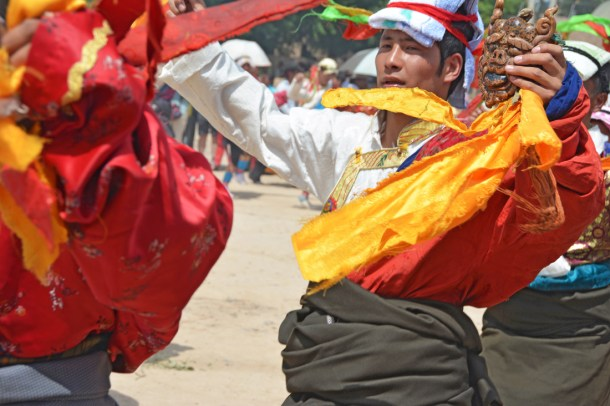 A Tibetan young man from our clan, Nor-brgya (Norja), who is a university student, participating in the Lerol parade.