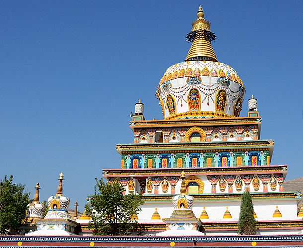 View of the stūpa from the east in Rebkong, Amdo, Tibet. Buddhist rituals, Buddhist beliefs