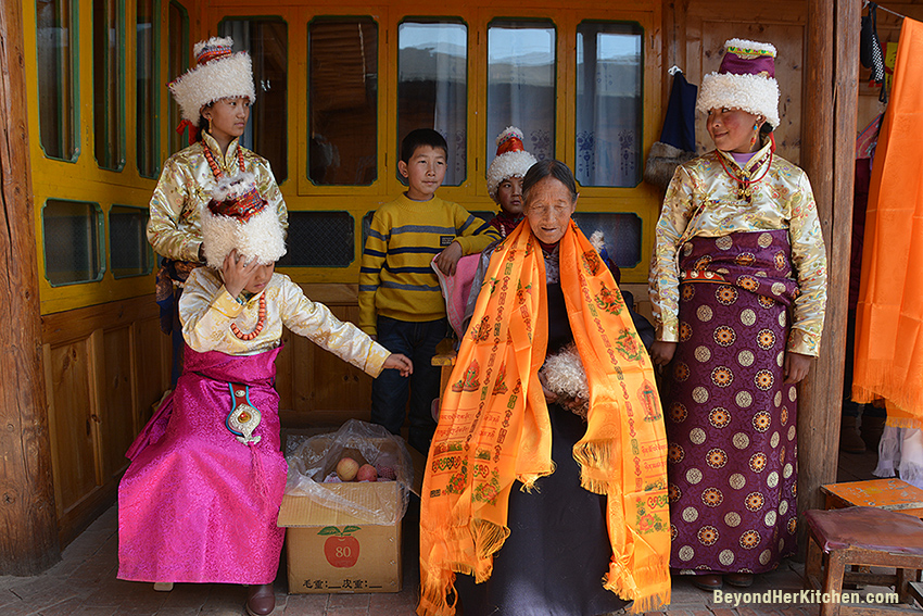 Tibetan woman 80th birthday celebration
