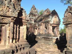 "20. Banteay Srei – its name means ""citadel of women"" and, though far from the main Angkor temples, it is a popular site because it is built of pink sandstone and features elaborate and well-preserved bas-reliefs."