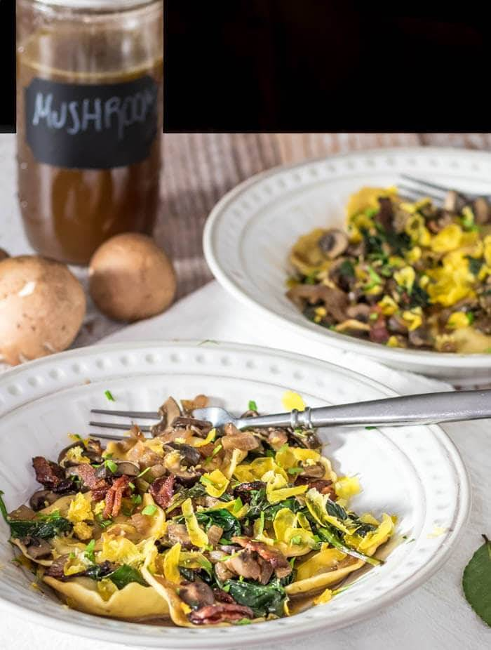 Bacon and Egg Pasta With Mushrooms Spinach