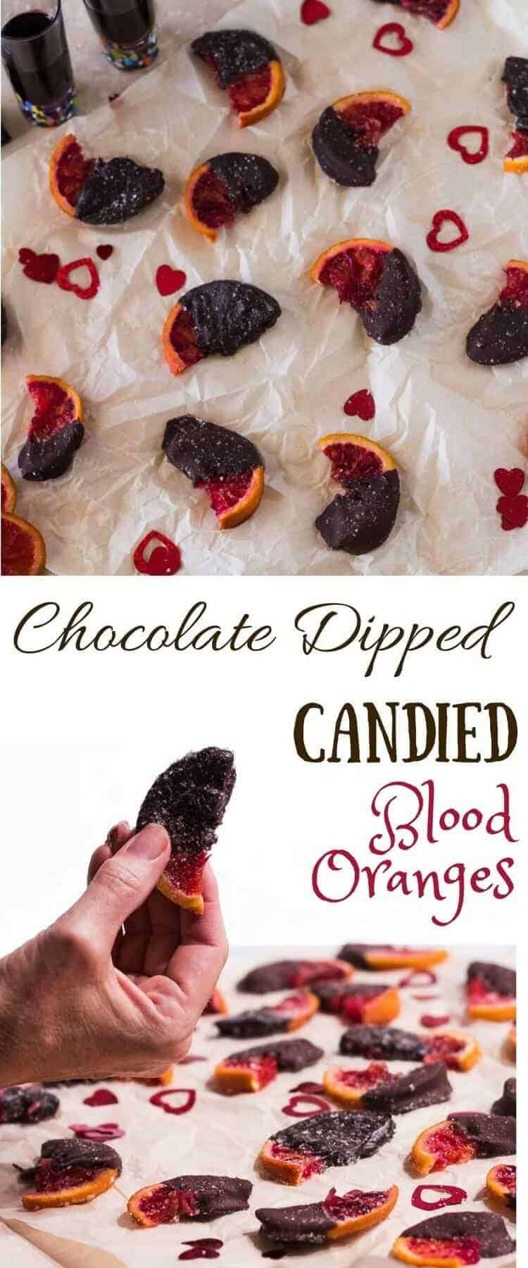 Chocolate Dipped Candied Blood Oranges - beautiful, rich, sweet, salty treat... perfect for your loved one on Valentine's Day! candied oranges | chocolate recipes | blood oranges | Valentine's Day treats