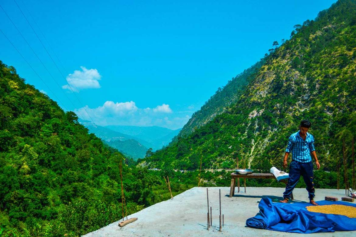 Blue skies, green spaces in the Himalayan mountains