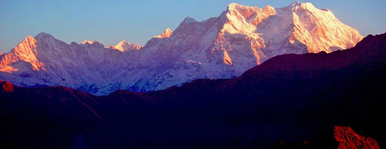 Himalayan mountain peak during a beautiful sunrise, Chopta, Uttrakhand, India