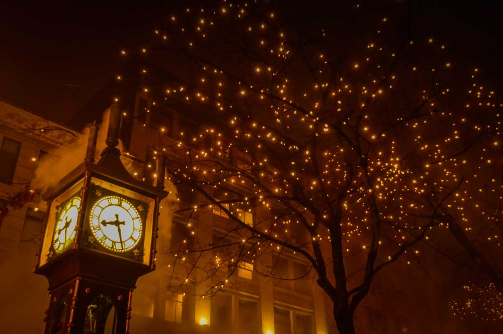 Gas Town Vancouver during night, clock tower during Christmas