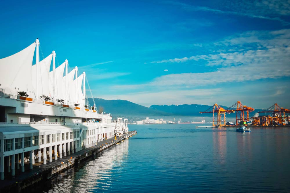 Vancouver Harbour Front during a sunny winter morning blue skies