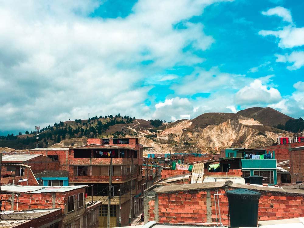Houses and hills in Soacha, Bogota, Colombia