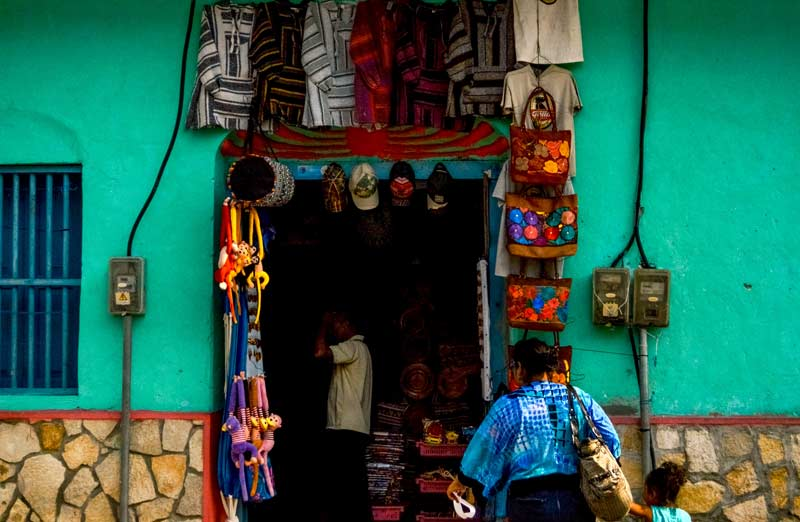 color shop in Flores, Guatemala