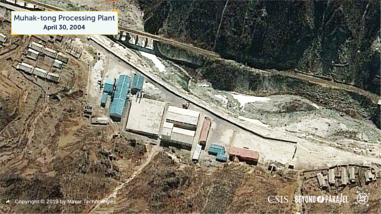 The unidentified processing facility 700 meters west of the Muhak-tong ore processing and loading facilities, April 30, 2004. (Copyright 2019 by Maxar Technologies)