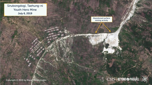 Overview of the Sirubongdogi area and abandoned surface mining activity, Taehung Youth Hero Mine, July 6, 2019. (Copyright 2019 by Maxar Technologies)