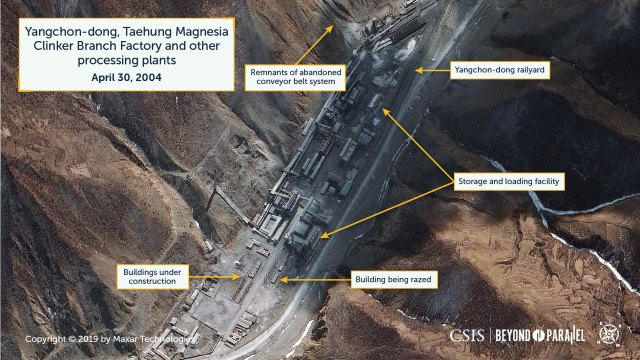 The Taehung Magnesia Clinker Branch Factory and other processing plants at Yangchon-dong, April 30, 2004. (Copyright 2019 by Maxar Technologies)