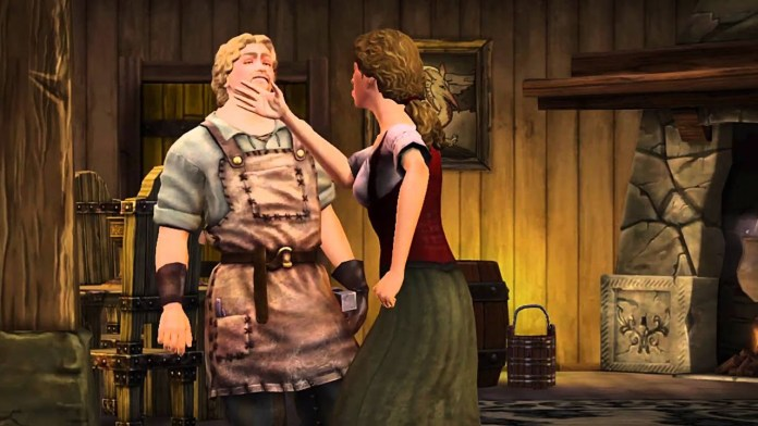 A sim being slapped in The Sims Medieval
