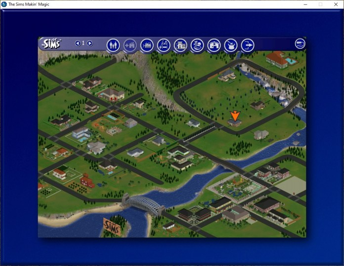 An aerial view of The Sims 1 world
