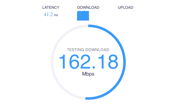 Speedcheck performing a speed test