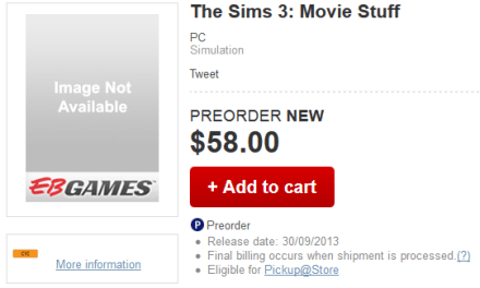 Pre-Order The Sims 3 Movie Stuff @ EB Games