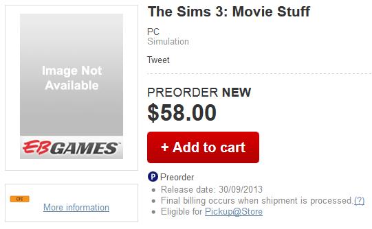 Pre-Order The Sims 3 Movie Stuff @ EB Games