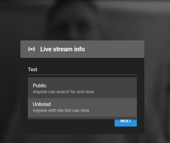 Screenshot: YouTube Go Live Public Or Private Stream