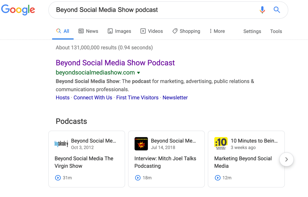 Type in Beyond Social Media podcast in Google and you can play the episodes within the search results.